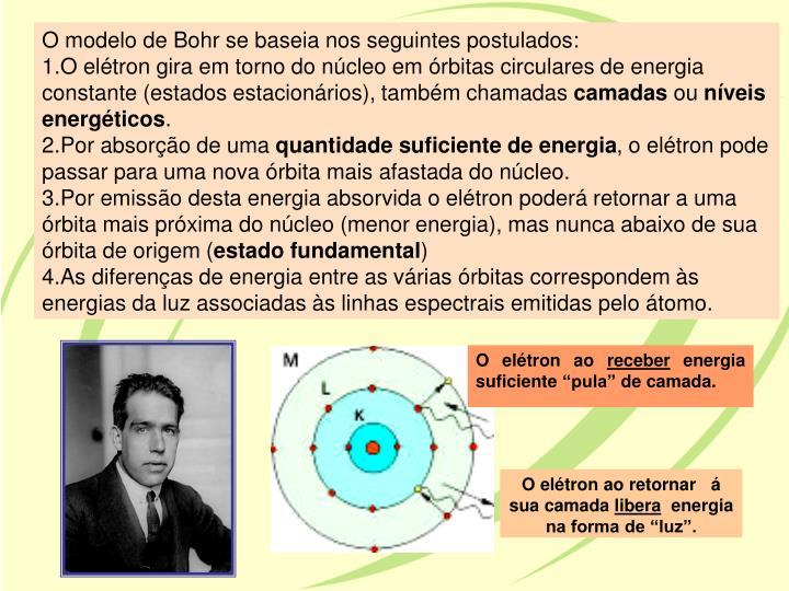 O modelo de Bohr se baseia nos seguintes postulados: