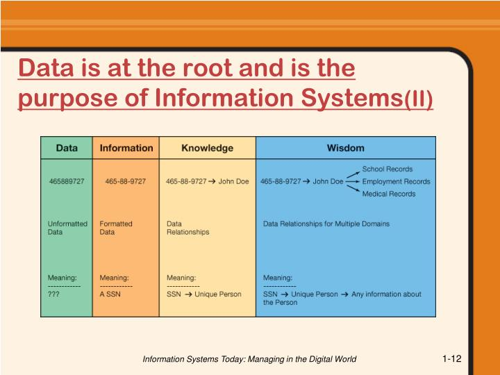 Data is at the root and is the purpose of Information Systems