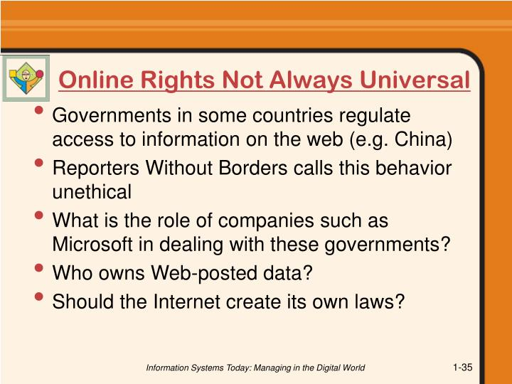 Online Rights Not Always Universal