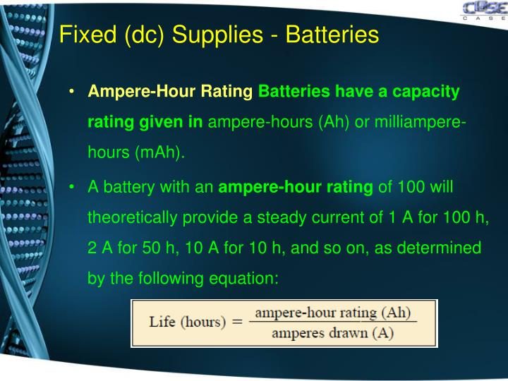 Fixed (dc) Supplies - Batteries