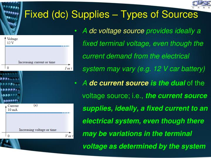 Fixed (dc) Supplies – Types of Sources