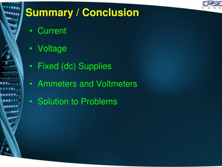 Summary / Conclusion