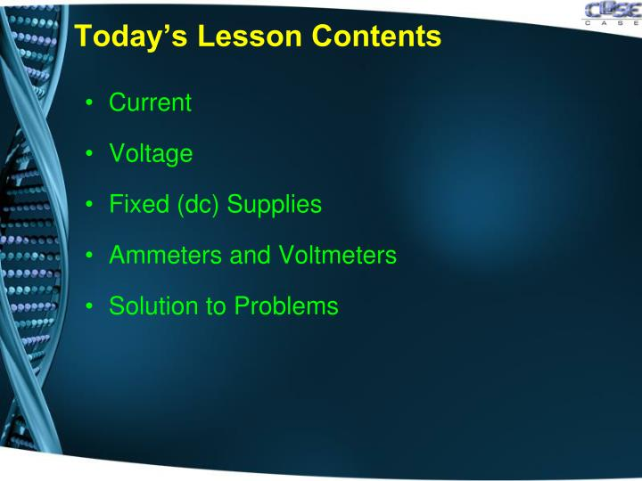 Today's Lesson Contents