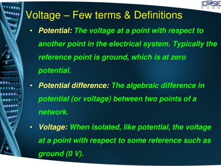 Voltage – Few terms & Definitions