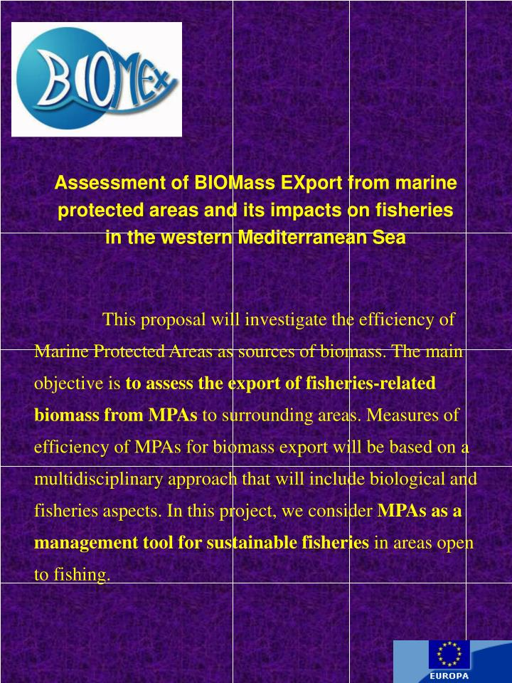 Assessment of BIOMass EXport from marine