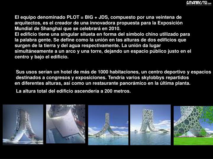 El equipo denominado PLOT = BIG + JDS, compuesto por una veintena de arquitectos, es el creador de una innovadora propuesta para la Exposición Mundial de Shanghai que se celebrará en 2010.