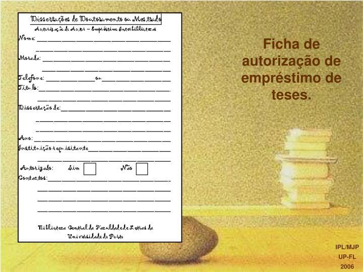 Ficha de autorização de empréstimo de teses.