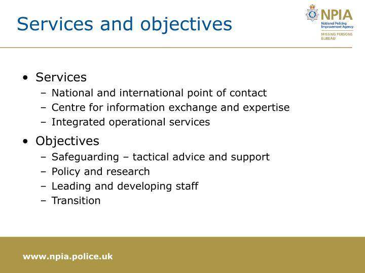 Services and objectives
