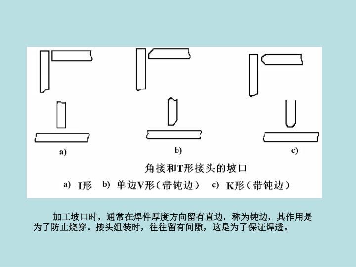 加工坡口时,通常在焊件厚度方向留有直边,称为钝边,其作用是为了防止烧穿。接头组装时,往往留有间隙,这是为了保证焊透。