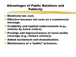 advantages of public relations and publicity