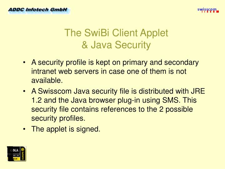 The SwiBi Client Applet