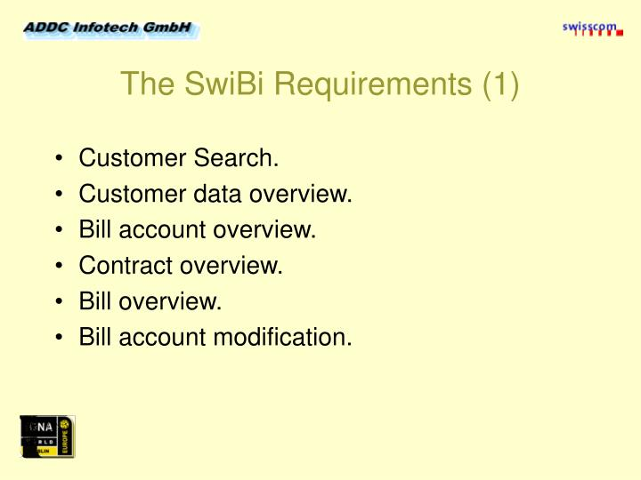 The swibi requirements 1