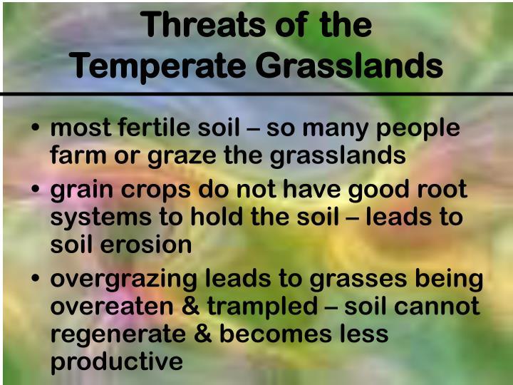 most fertile soil – so many people farm or graze the grasslands