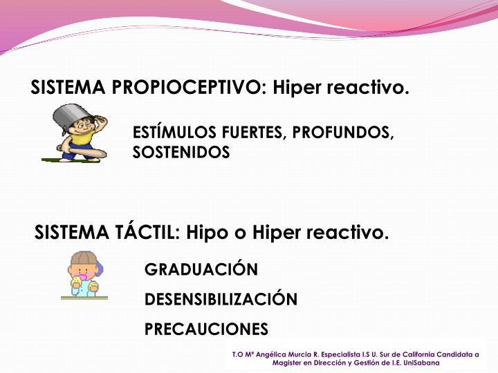 SISTEMA PROPIOCEPTIVO: Hiper reactivo.