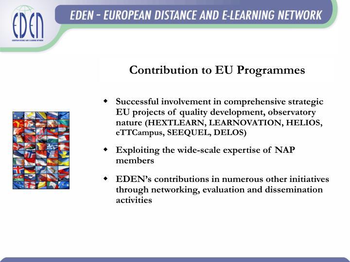 Contribution to EU Programmes