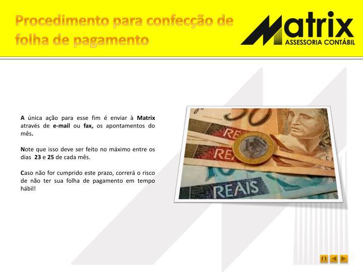 Procedimento para confecção de folha de pagamento