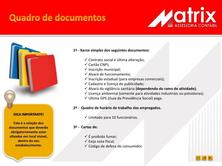 Quadro de documentos