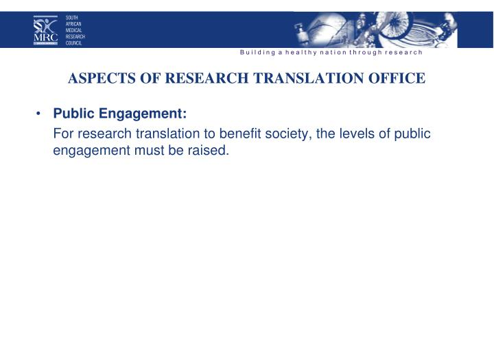 Aspects of research translation office