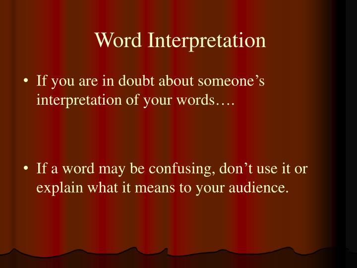 Word Interpretation