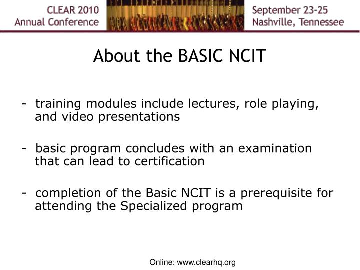 About the BASIC NCIT