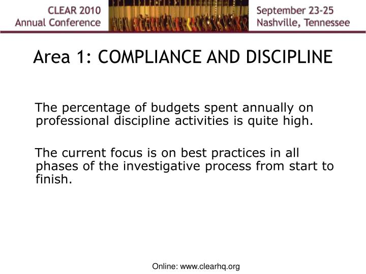 Area 1: COMPLIANCE AND DISCIPLINE