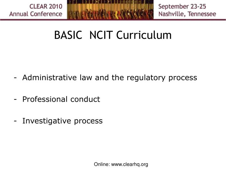 BASIC  NCIT Curriculum