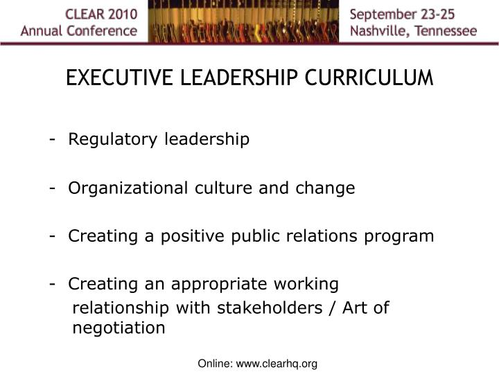 EXECUTIVE LEADERSHIP CURRICULUM