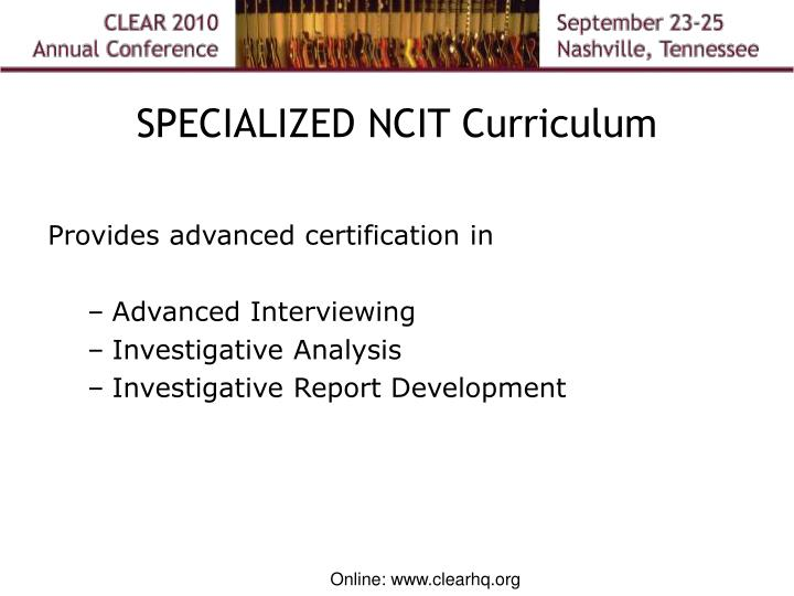 SPECIALIZED NCIT Curriculum