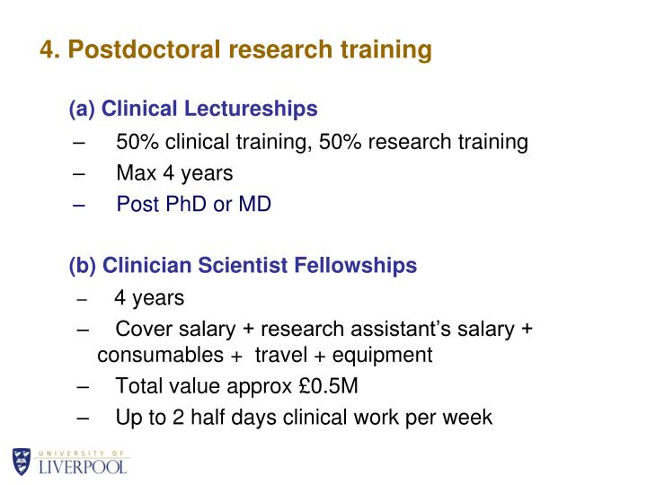 4. Postdoctoral research training