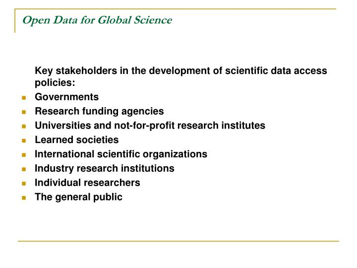 Open data for global science1
