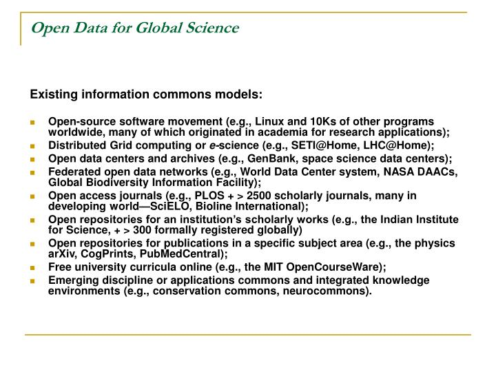 Open Data for Global Science