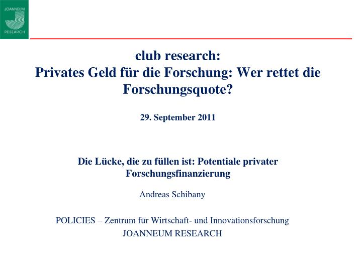 club research: