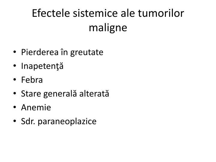 Efectele sistemice ale tumorilor maligne