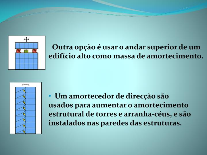 Outra opção é usar o andar superior de um edifício alto como massa de amortecimento.