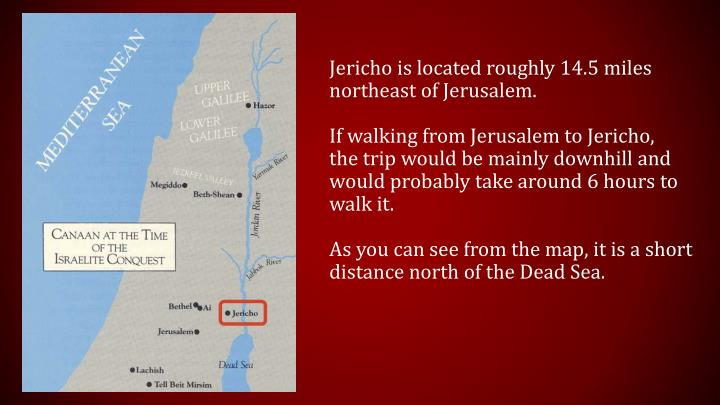 Jericho is located roughly 14.5 miles