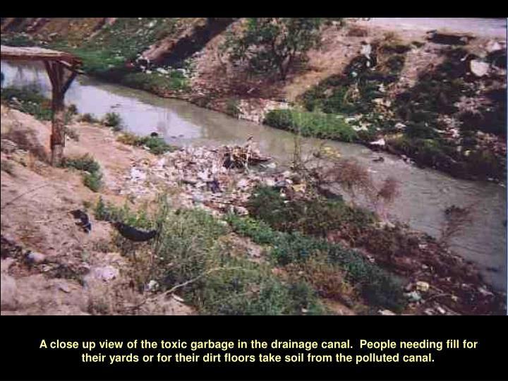 A close up view of the toxic garbage in the drainage canal.  People needing fill for their yards or for their dirt floors take soil from the polluted canal.
