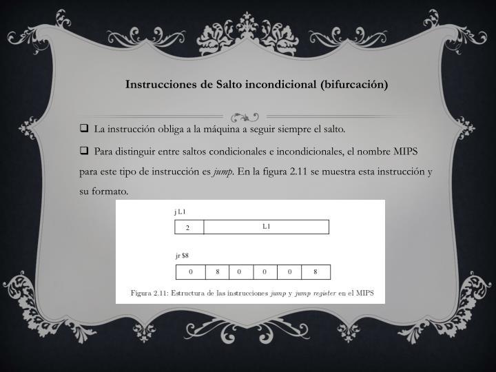 Instrucciones de Salto incondicional (bifurcación)