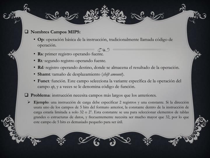 Nombres Campos MIPS: