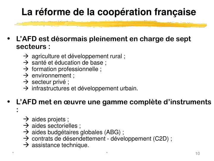 La réforme de la coopération française