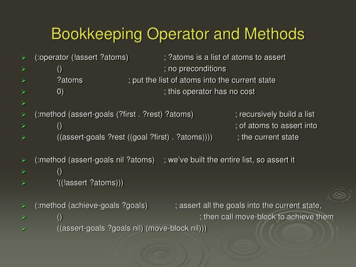 Bookkeeping Operator and Methods
