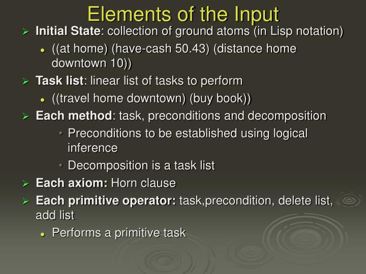 Elements of the Input