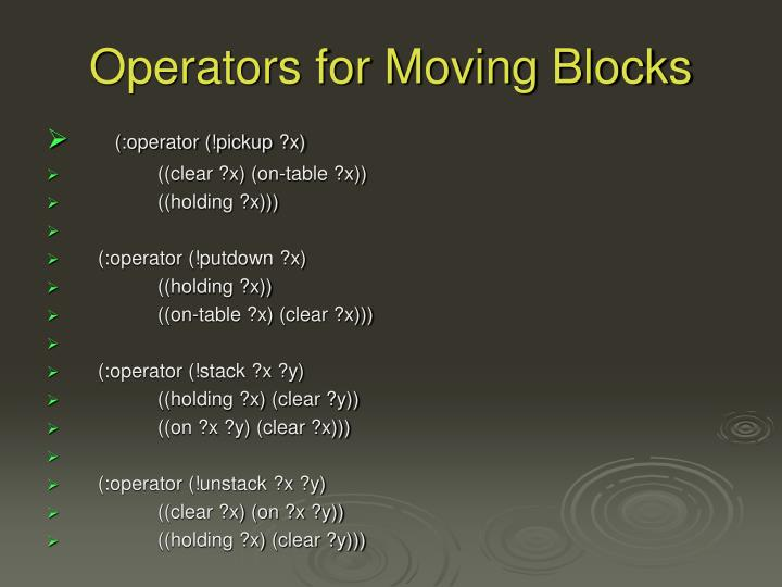 Operators for Moving Blocks