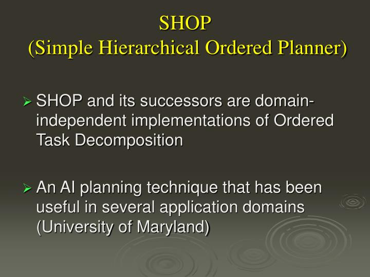Shop simple hierarchical ordered planner