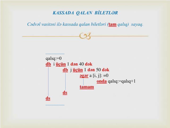 KASSADA  QALAN  BİLETLƏR