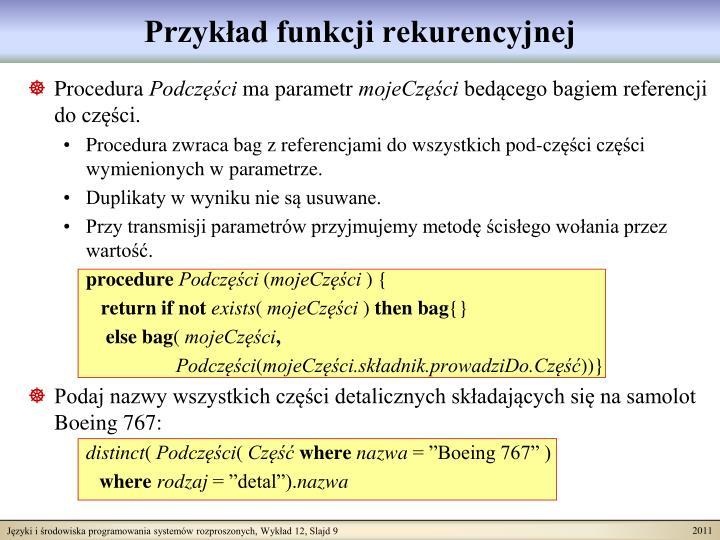 Przykład funkcji rekurencyjnej
