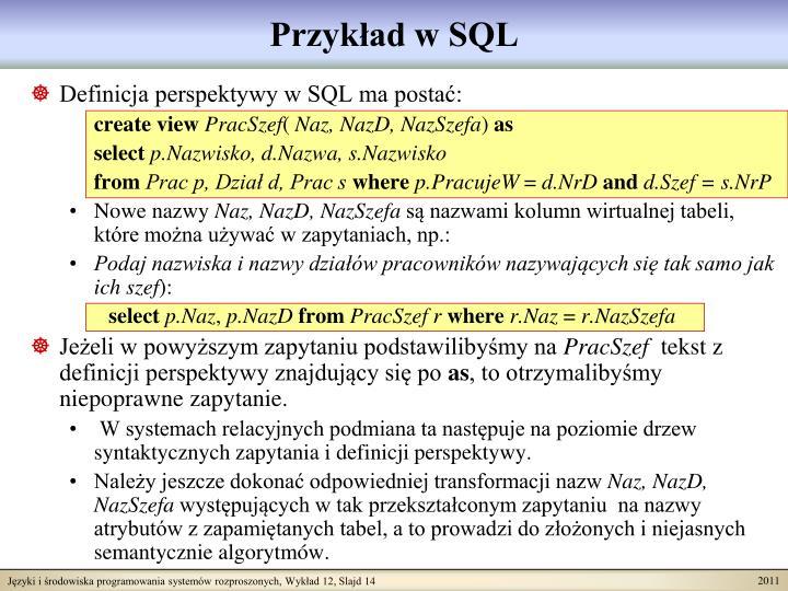 Przykład w SQL
