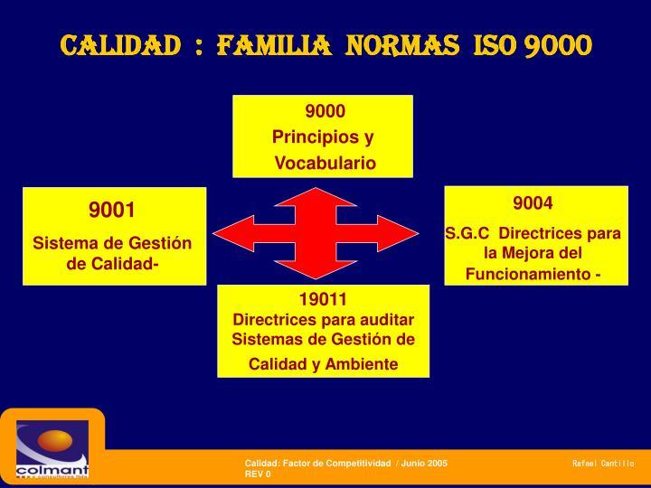 CALIDAD  :  FAMILIA  NORMAS  ISO 9000