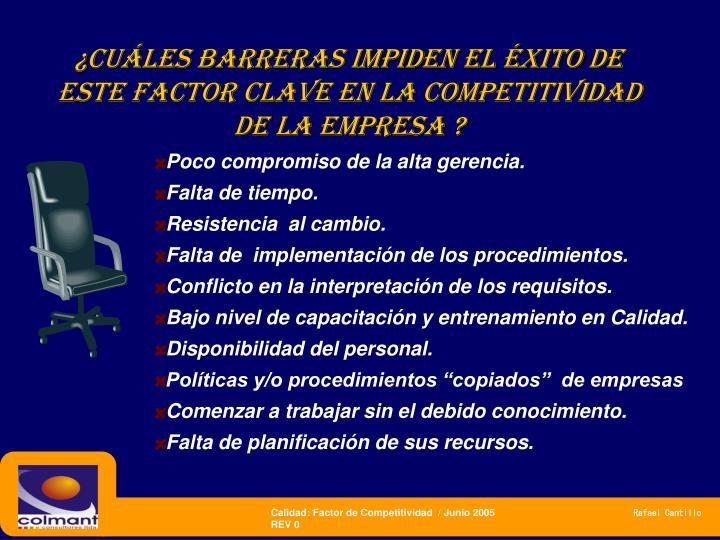 ¿CUÁLES BARRERAS IMPIDEN EL ÉXITO DE este factor clave en la competitividad  de LA EMPRESA ?