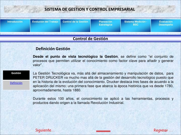 SISTEMA DE GESTION Y CONTROL EMPRESARIAL