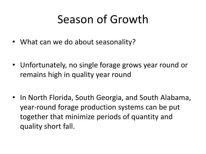 Season of Growth